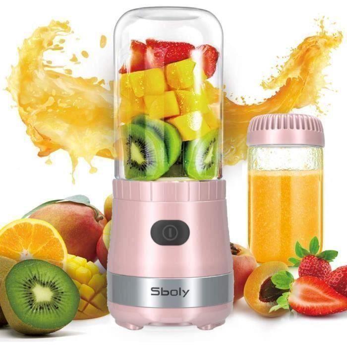 Blender Mixeur Smoothie Fruits Milkshake 450ml avec 2 bouteilles portables - Rose