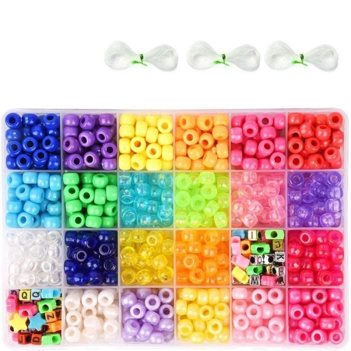 Perles de Poney pour la Fabrication de Bracelets, 3300 Perles de 9 Mm 24 Couleurs avec des Perles de L'Alphabet, des Perles en