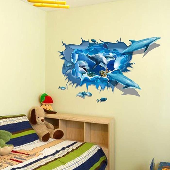 Nouvelle Mode Decor A La Maison 3d Dauphins Bleu Mer