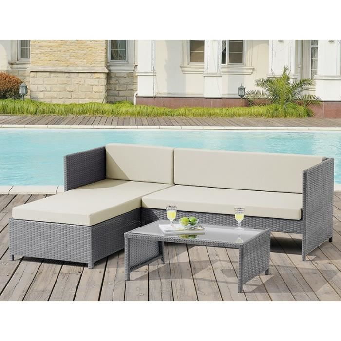 slon jardin canap d 39 angle modulable gris table basse achat vente fauteuil jardin slon. Black Bedroom Furniture Sets. Home Design Ideas