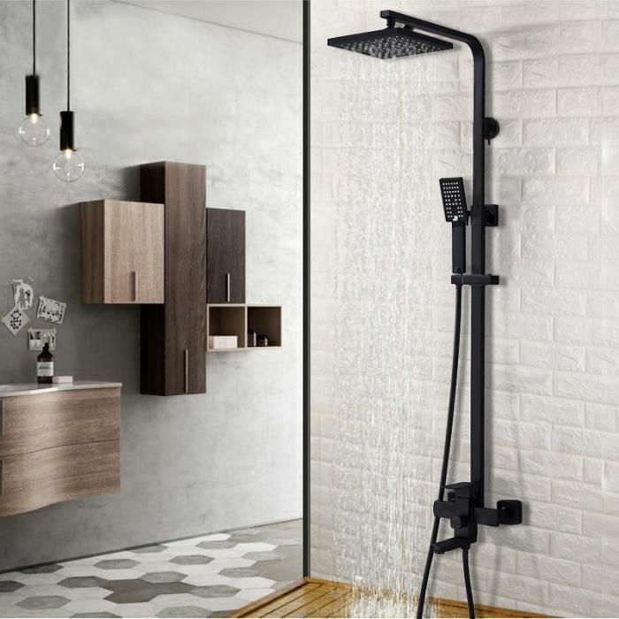 8 pouces 3 voies noir mat salle de bain robinet de douche Set pommeau de  douche mural pluie avec douche main baignoire bec mélangeur
