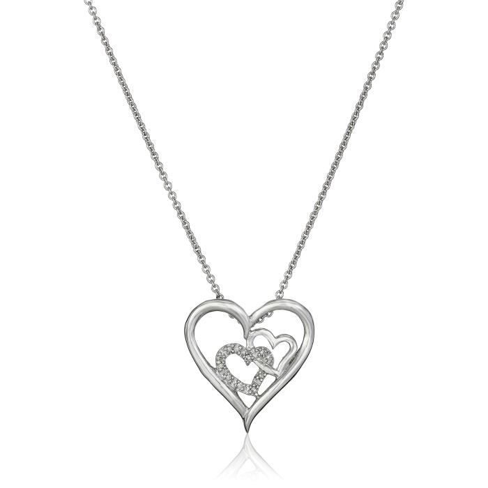 Jewel Panda Pendentif Coeur en argent sterling diamant Accent Double Collier 18