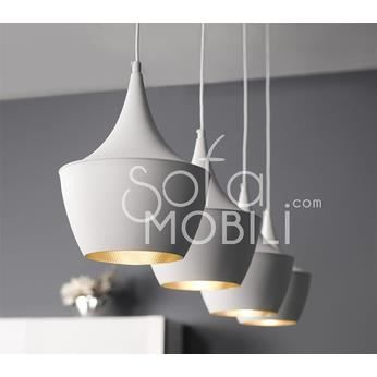 luminaire suspension noir ou blanc 4 lampes design sibka blanche couleur blanche achat. Black Bedroom Furniture Sets. Home Design Ideas