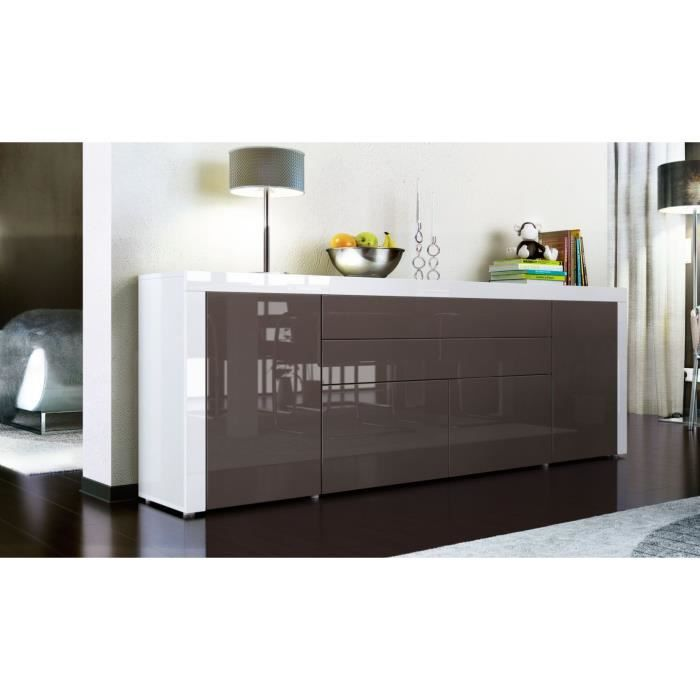 buffet enfilade blanc et chocolat 200 cm achat vente buffet bahut buffet enfilade cdiscount. Black Bedroom Furniture Sets. Home Design Ideas