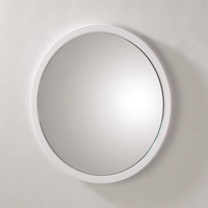 miroir mural rond syla blanc achat vente miroir pvc et mdf cdiscount. Black Bedroom Furniture Sets. Home Design Ideas