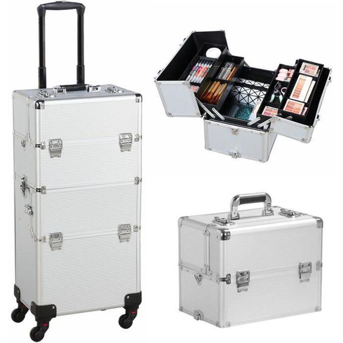 Mallette de Maquillage Professionnel 2 en 1 Valise Maquillage /à Roulettes Trolley Coiffure Organiseur Cosm/étiques avec Tiroirs pour Voyage