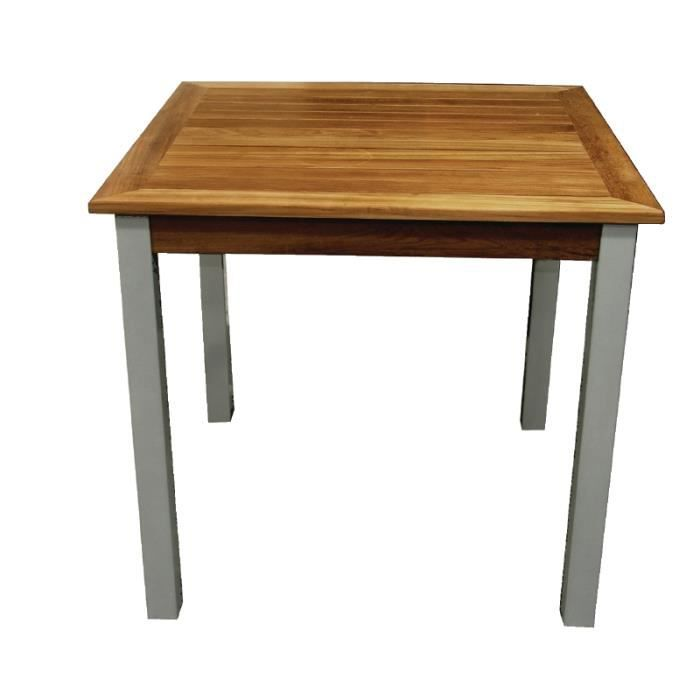 Table carr e en teck et aluminium achat vente table de for Table de sejour carree