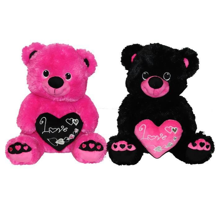 peluche ours valentin c ur love noir 30cm achat vente peluche cdiscount. Black Bedroom Furniture Sets. Home Design Ideas