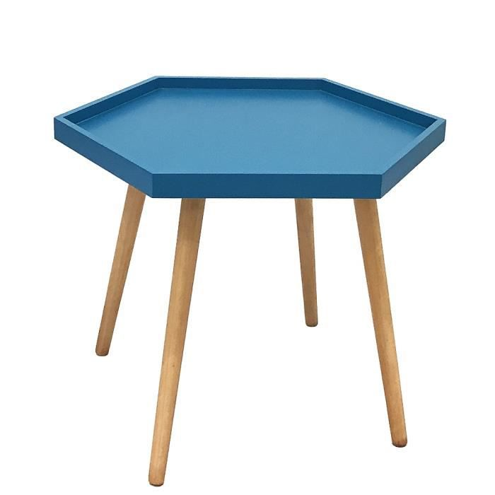 Table basse hexa bleu canard bleu achat vente table - Table basse bleu ...
