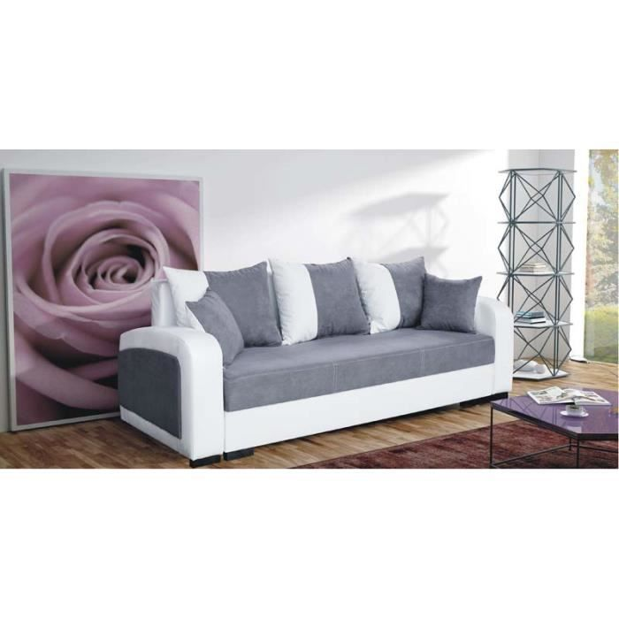 canap convertible 3 places fiona gris achat vente canap sofa divan tissu simili. Black Bedroom Furniture Sets. Home Design Ideas