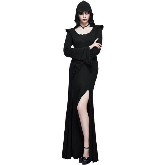Longue Robe Noire Fendue Avec Longues Evasees Et Capuche Gothique Witchy Noir Achat Vente Robe Cdiscount