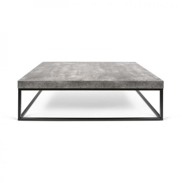 Temahome table basse 120cm petra b ton m tal noir - Table basse beton ...