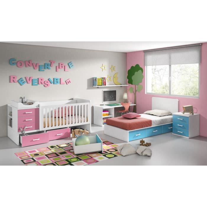 lit b b r versible et convertible en lit enfant blanc fuchsia et turquoise l202 x h93 6 x. Black Bedroom Furniture Sets. Home Design Ideas