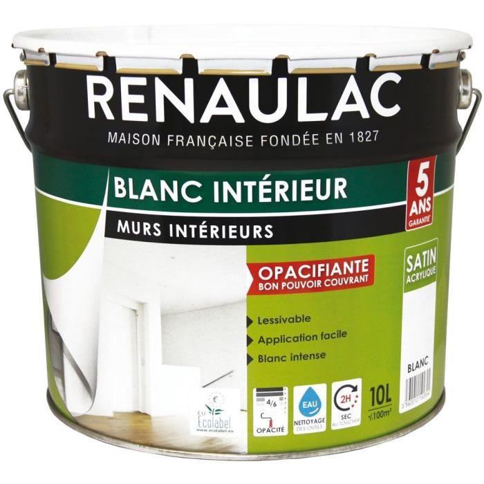 Renaulac Peinture Intérieur Murs Plafonds Bicouche Acrylique Blanc Mat Satin 10l 100m Pôt