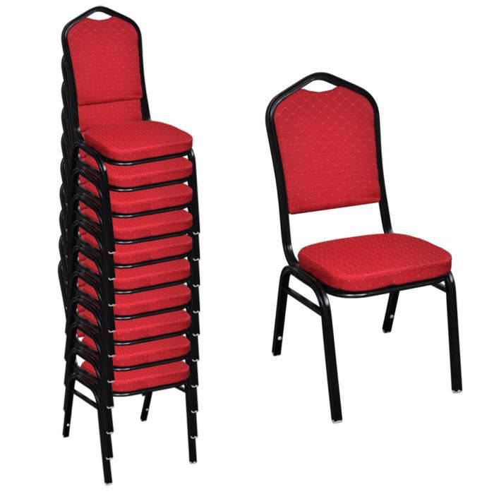 10 pcs chaise empilable rembourre rouge - Chaise Empilable