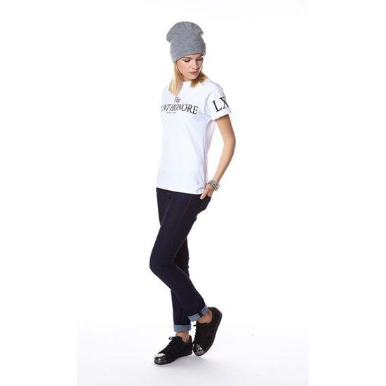 11 degrés enregistré sonnerie à manches courtes T-Shirt Anthracite//Blanc