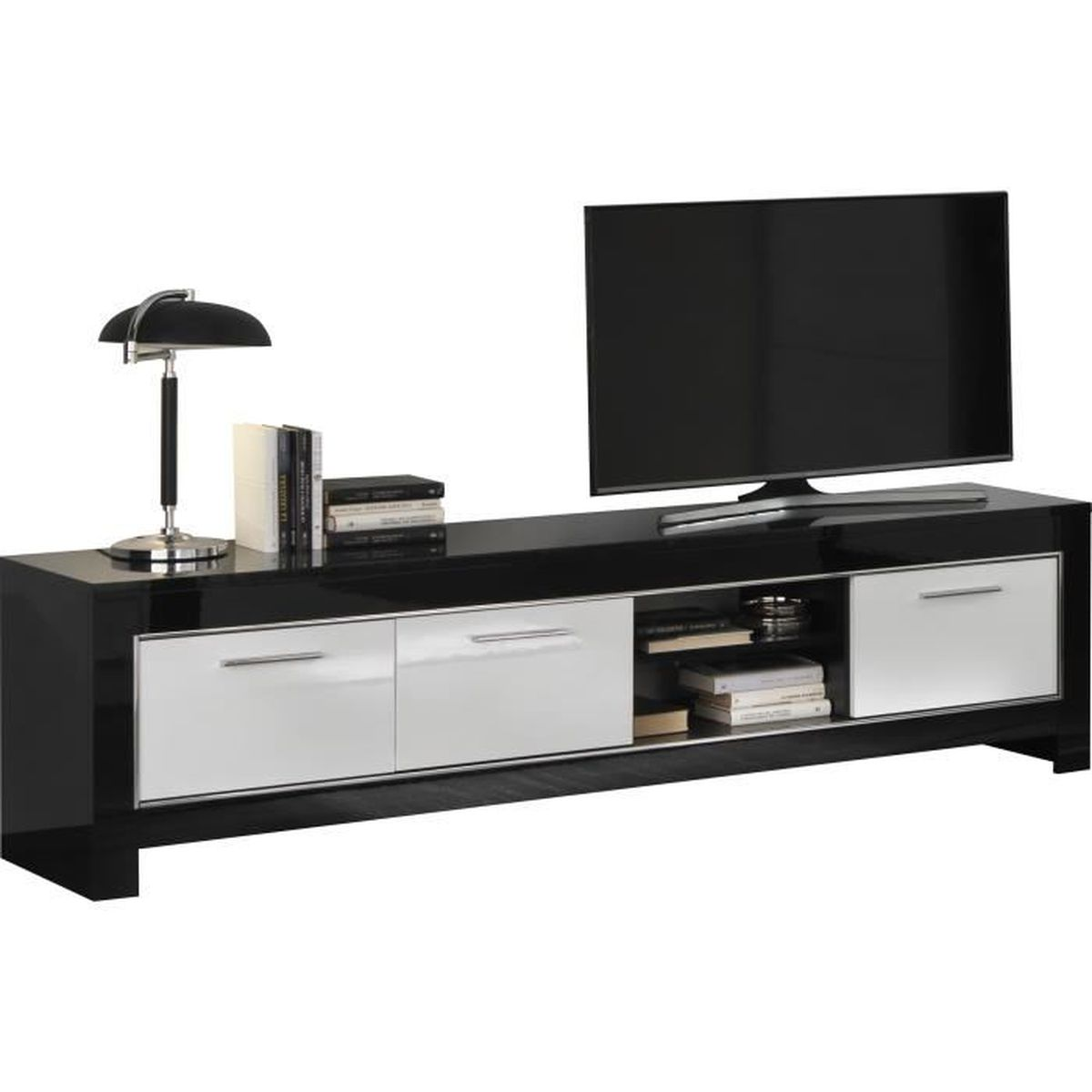 meuble tv design noir et blanc laqu brillant de 207 cm. Black Bedroom Furniture Sets. Home Design Ideas