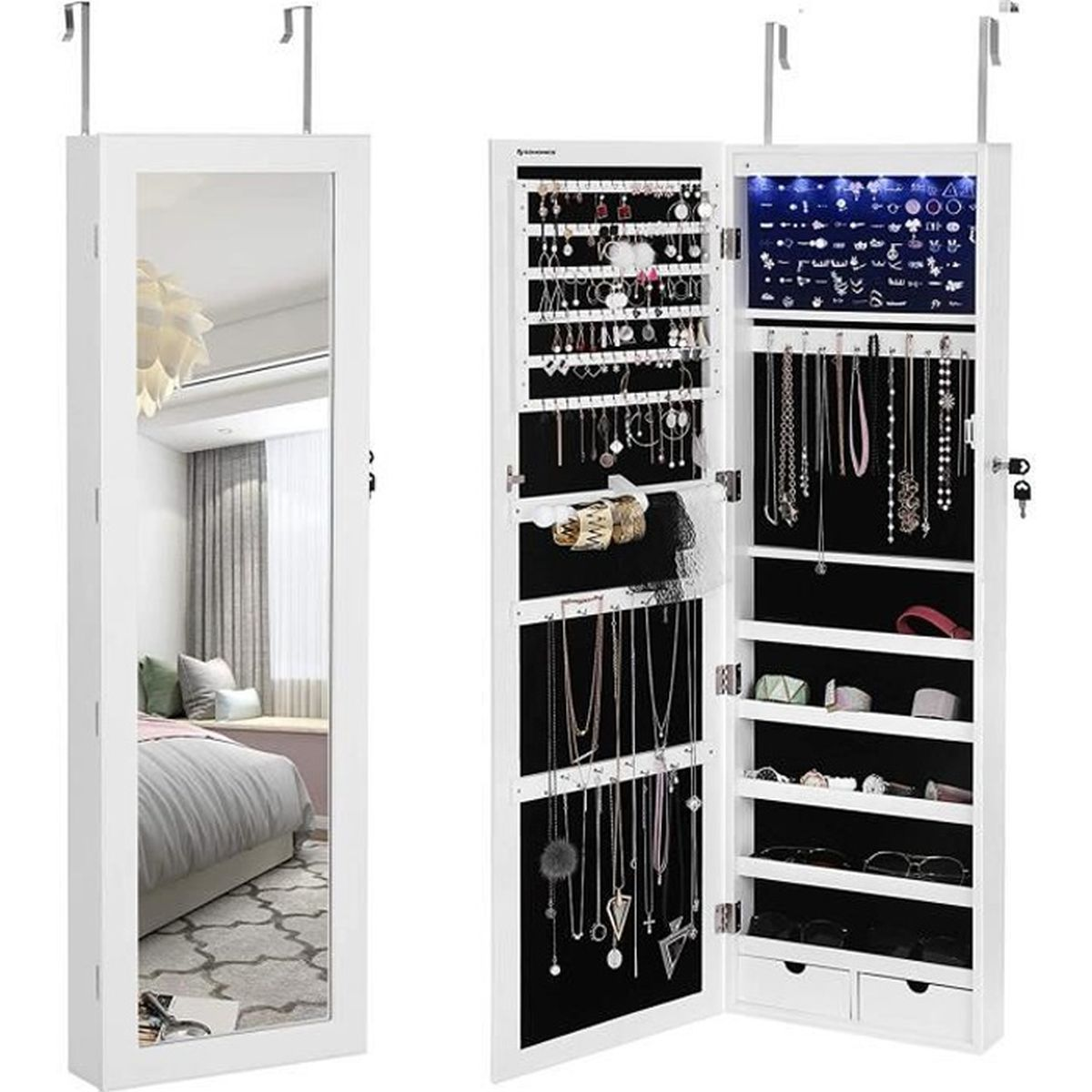 songmics led armoire bijoux armoire de rangement mural. Black Bedroom Furniture Sets. Home Design Ideas