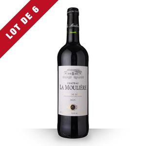 VIN ROUGE 6X Château la Moulière 2015 Rouge 75cl AOC Côtes d