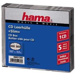LECTEUR DVD Boîtier CD Slim, lot de 5, Transparent/Noir