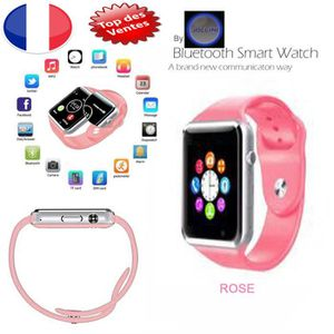 MONTRE CONNECTÉE Montre connectée Rose - Camera – Bluetooth - Carte