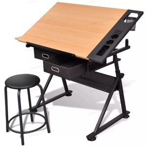 TABLE A DESSIN Vidaxl Table à dessin inclinable de table à deux t