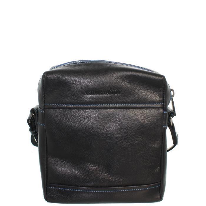 Sacoche bandoulière Arthur et Aston cuir ref_ast42519 D Noir-bleu 19*23*5