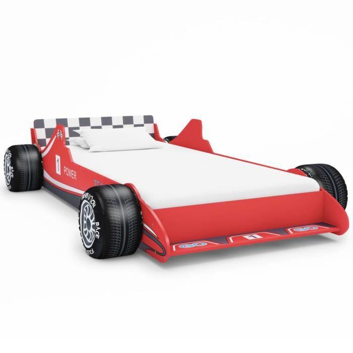 Lit voiture de course pour enfants 90 x 200 cm Rouge-TIP