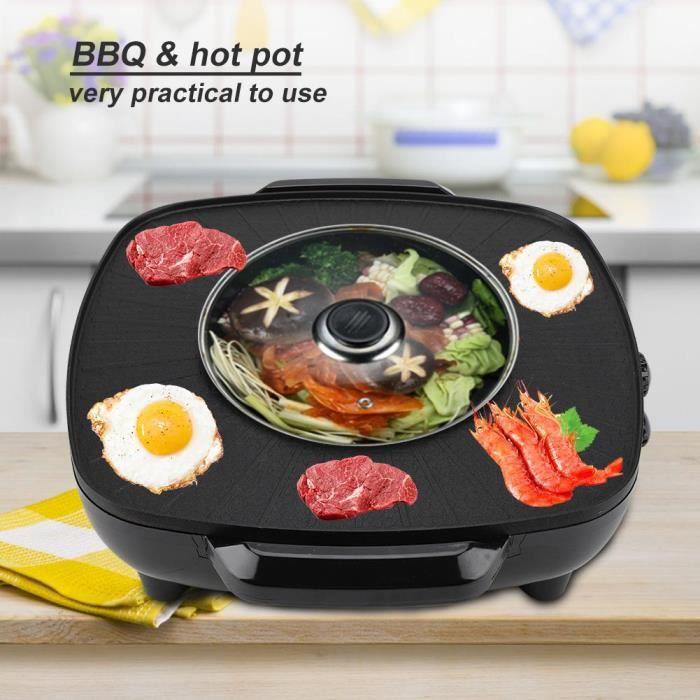 1200W 2 en 1 Poêle électrique Hot Pot BBQ Friture Cuire Grill Cuisine