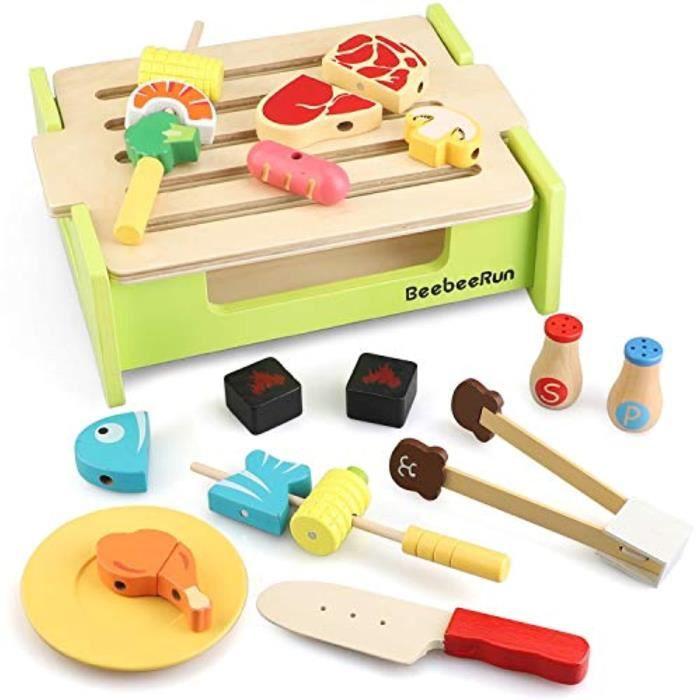 Docteur R3LNV Jouet de nourriture en bois, ensemble de jeu pour barbecue 23 pièces, ensemble de cuisine pour jeu de simulation, cuis