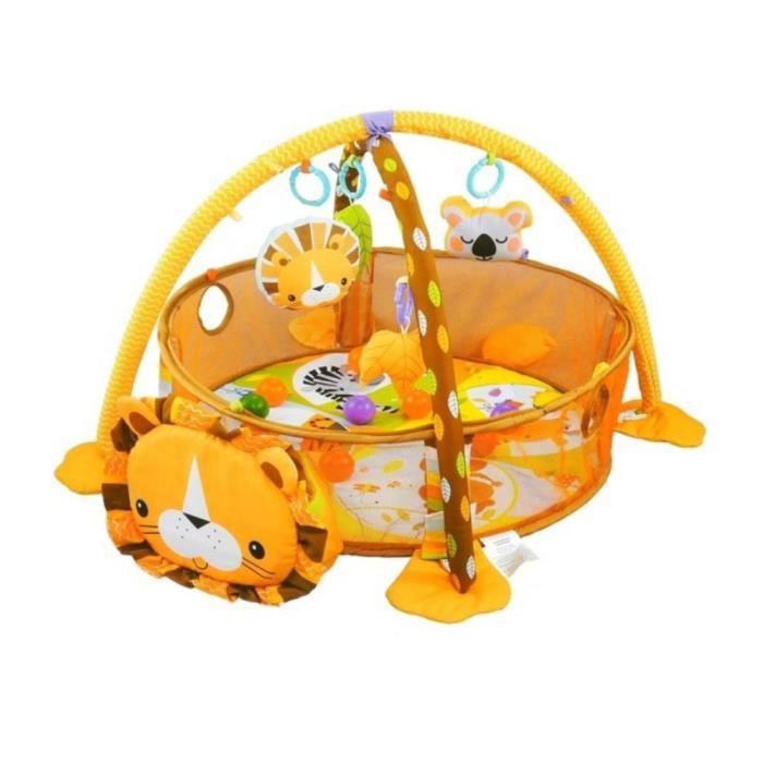 LION Tapis d'éveil bébé 3 en 1 parc et piscine à balles avec arches
