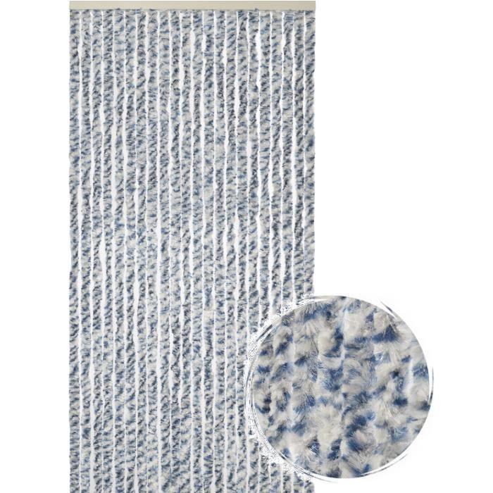 Rideau de porte Chenille de qualité supérieure Protection de vos espaces intérieurs, Anti-Insectes 90 x 220 cm Mix bleu/gris/blanc