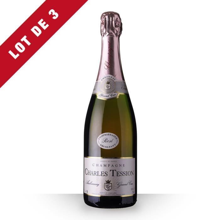 3X Charles Tession Brut Rosé 75cl Grand Cru - Champagne
