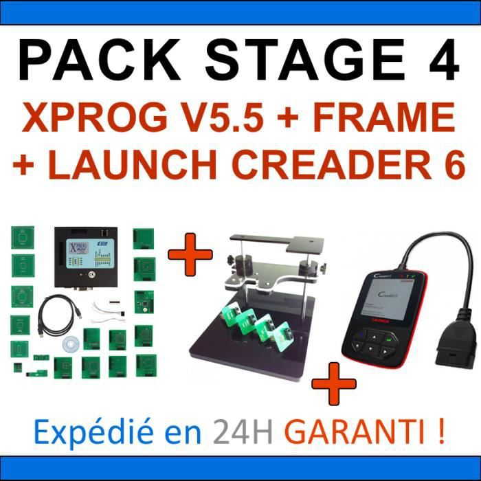 PACK REPROGRAMMATION CALCULATEUR LAUNCH CREADER VI 6 XPROG V5.50 BDM FRAME PCK4