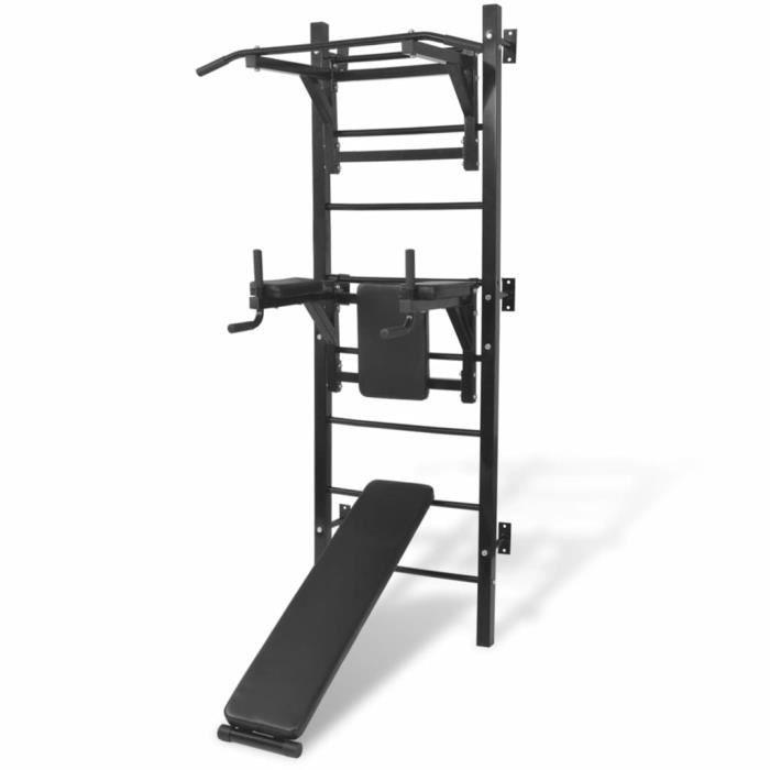 **3510Moderne Tour de musculation murale multifonction Chaise Romaine Station - banc de musculation, barre de Tractions noire