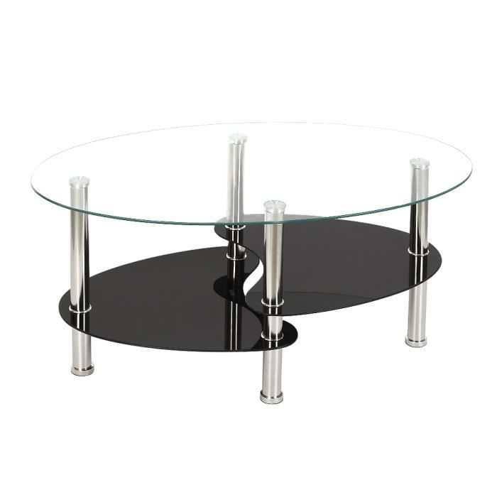Table basse noir et transparent en verre trempé oval, LAIZERE