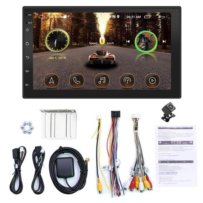 9218S amélioré 2 DIN Android 9.1 Radio Double voiture stéréo GPS Navigation Bluetooth WiFi USB Radio unité - Type With 12LED Camera
