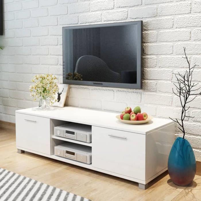 Meuble TV 2 Portes - Style Moderne - MDF - Haute Brillance Blanc - 120 x 40,3 x 34,7 cm
