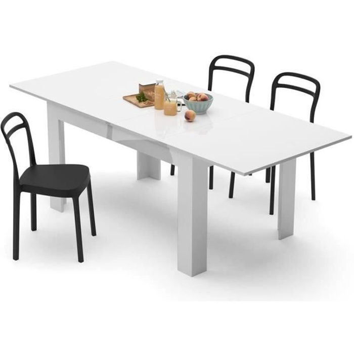 Mobili Fiver, Table extensible Cuisine, Easy, Blanc laqué brillant, Mélaminé, Made in Italy