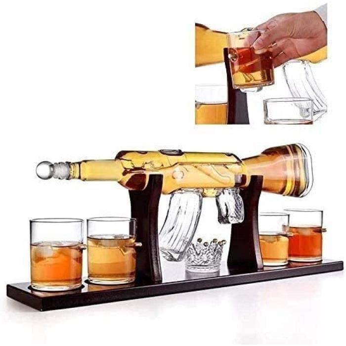 Carafe à décanter à whisky en forme de pistolet 1000 ml avec 4 verres à shot de 300 ml 776