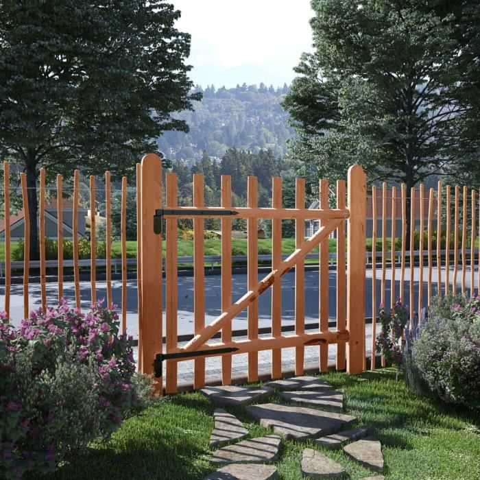 Excellent Qualité :) Portillon Portail de clôture - Grillage Portail de clôture Bois de noisetier imprégné 100 x 100 cm &39500&