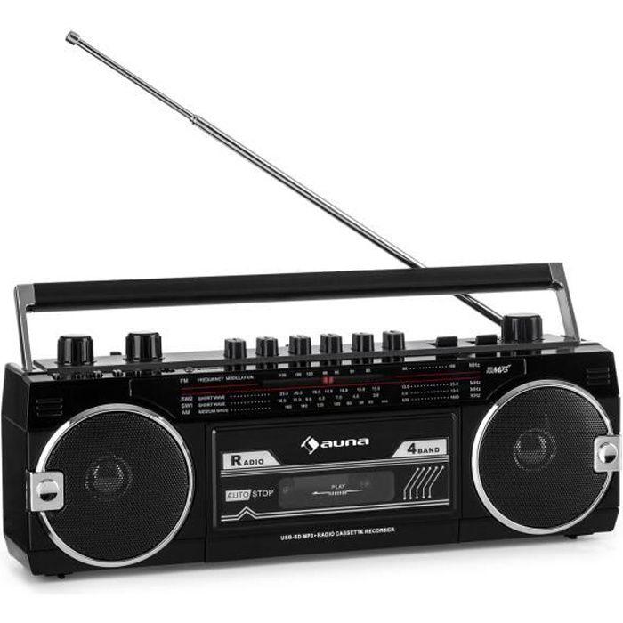 Radio cassette - auna Duke MKII - avec radio FM , lecteur K7 USB SD et BT - antenne télescopique - noir