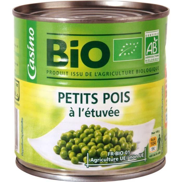 CASINO Petits pois extra fins - Bio - 265g