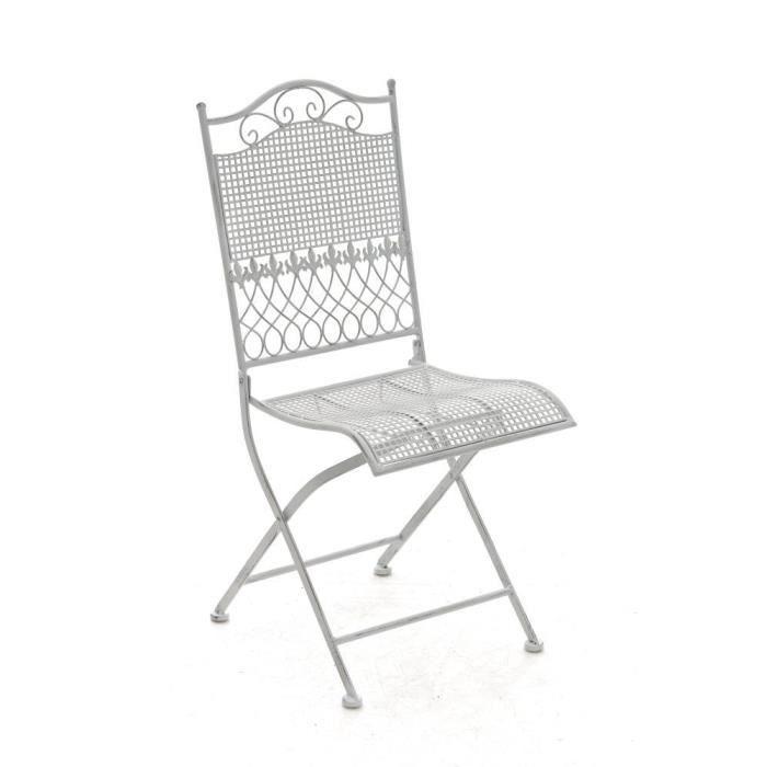 CLP Chaise nostalgique pliable KIRAN, en fer forgé, chaise en fer style nostalgique, ultra-élégant, 6 couleurs au choix91 cm - bl...