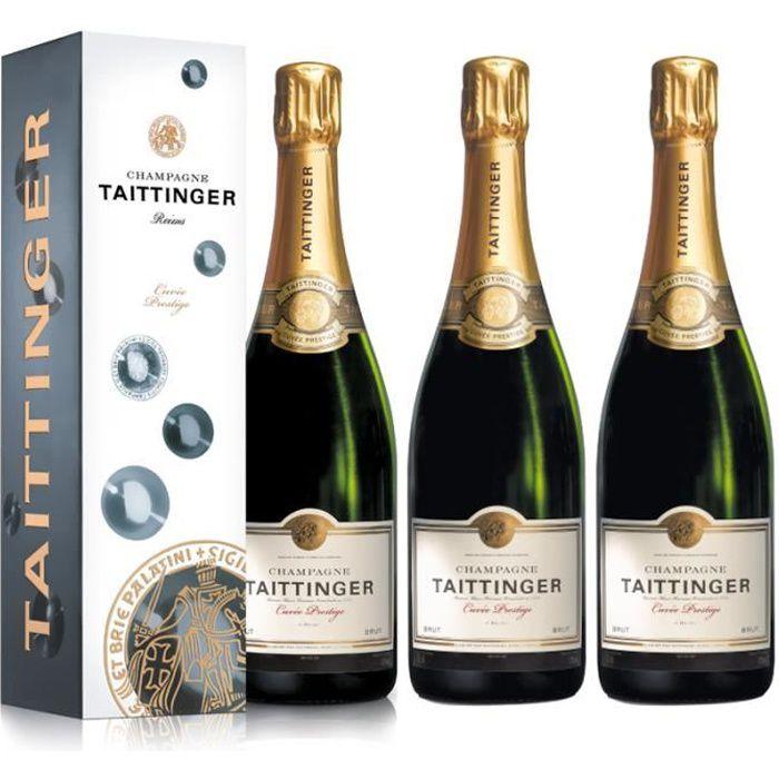 Lot 3 Champagnes Taittinger Brut Cuvée Prestige 75cl Etuis