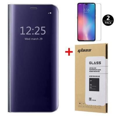Coque Xiaomi Mi 10 lite et [2 Pack] Verre trempé 3D Déverrouillage d'empreintes digitales, Miroir Flip Case Housse Étui pour