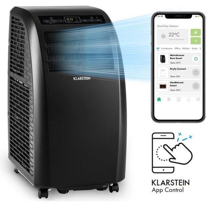 Klarstein Metrobreeze Rome Smart 10k - Climatiseur mobile connecté 10000 BTU-3kW - pour 29 à 49 m² - Classe A - Noir