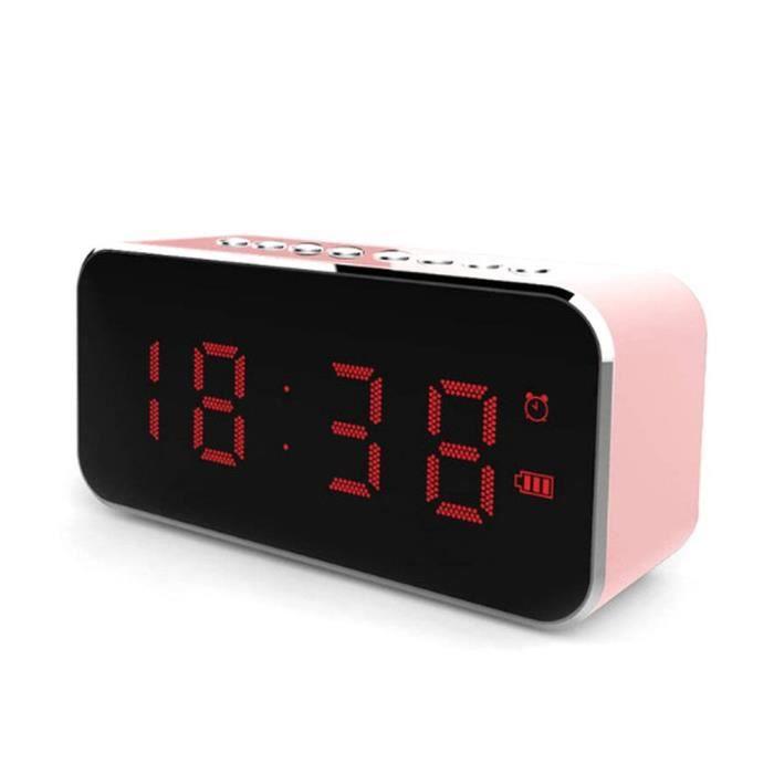 Réveil de surface de miroir LED Lecteur de haut-parleur sans fil radio FM, rose