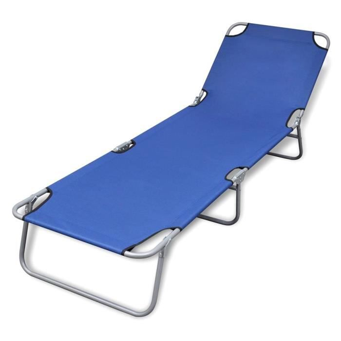 Chaise Longue de Jardin,Chaise Longue pliante, Transat pliable Acier enduit de poudre Bleu