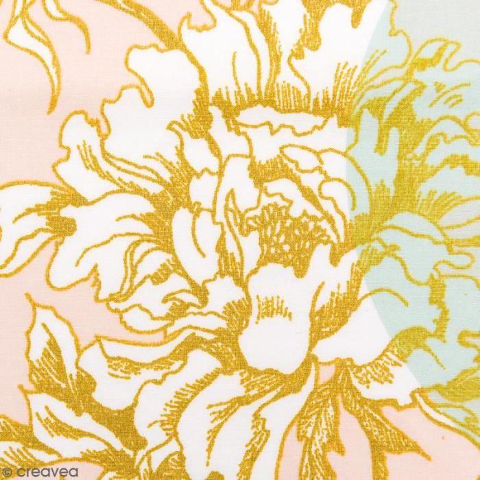 Tissu Rico - Toile de Jouy - Fleurs de Cerisier - fond Poudré et Menthe - Par 10 cm (sur mesure)
